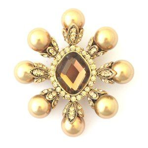 NWT Brooch Pin Pendant Gold Pearls topaz crystals